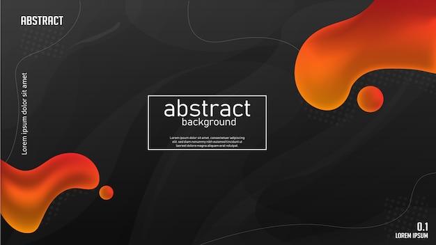 暗い背景と抽象的なオレンジ色の液体