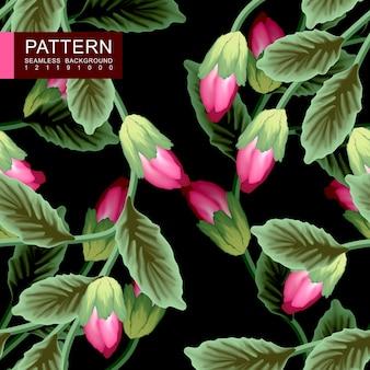 Зеленые листья с красными цветами бесшовные модели