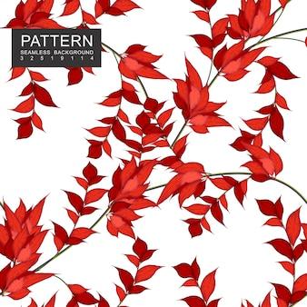 枝に濃い赤の葉