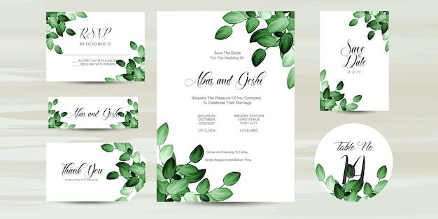 結婚式の招待状カードのテンプレート