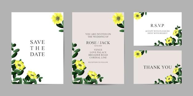 結婚式の花カード招待状のテンプレート - 結婚式の花の特別なデザイン