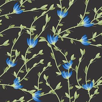 Ретро узор из полевых цветов во многих видах цветов