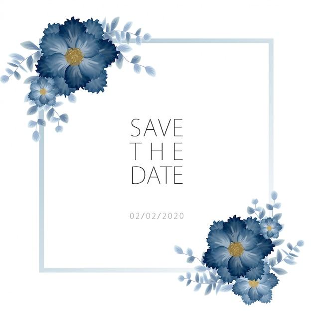 バラの花の花束の装飾入り結婚式招待状のテンプレート