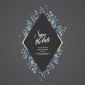 Шаблон приглашения свадебные цветы, сохранить дату карты