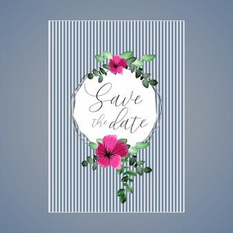 円と花と葉を持つ美しい花の結婚式のカード。