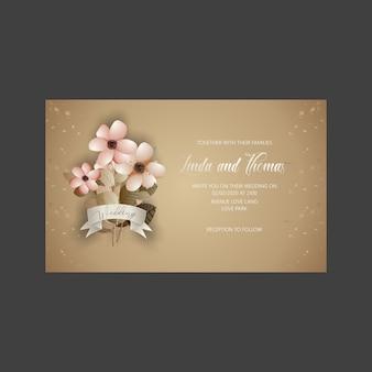 花と葉の結婚式の招待カード