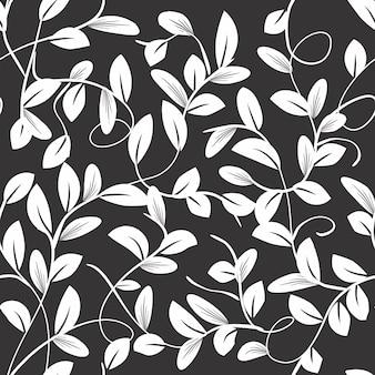 Бесшовные красивые ветки и листья черные и белые