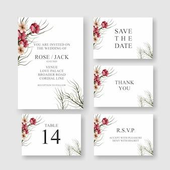 花の結婚式の招待カード、日付カードを保存