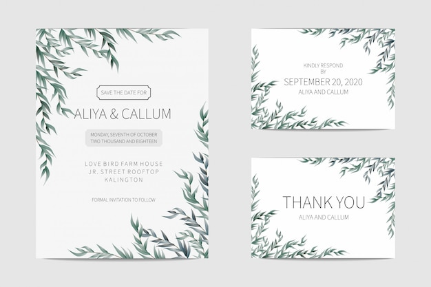 美しいシンプルでまともな結婚式の招待カード