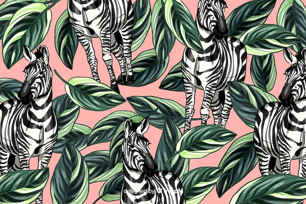 Ручной обращается реалистичные тропические растения и животные фон
