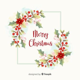 水彩クリスマスの花輪