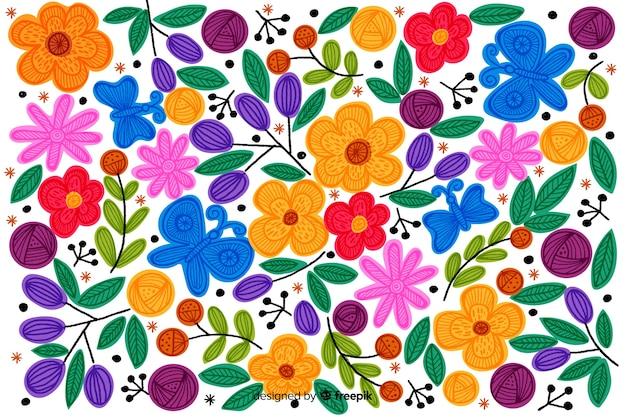 Красочный мексиканский фон вышивки