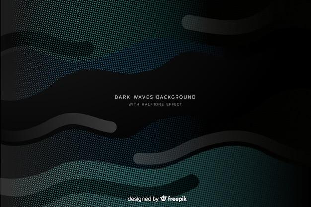 ハーフトーン波の暗い背景