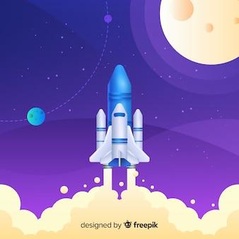 グラデーションロケットが空を飛んでいます。