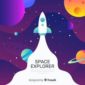 ロケットの背景を持つグラデーション空間