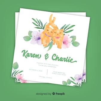 水彩猫結婚式招待状のテンプレート