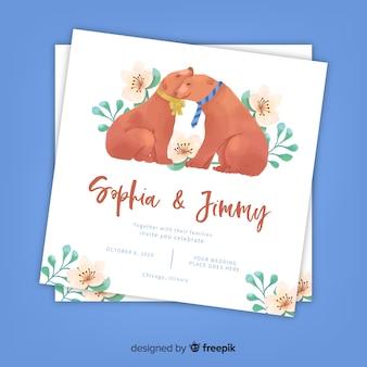 水彩犬の結婚式の招待状のテンプレート
