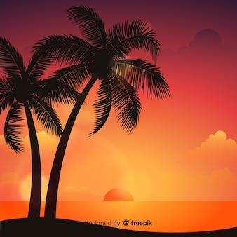 Пляжный закат с силуэтами пальм