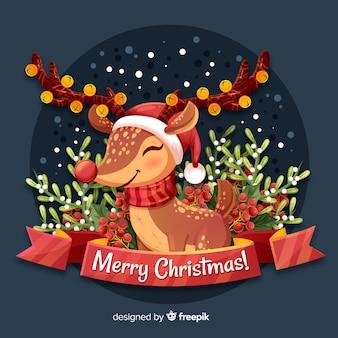 かわいいトナカイとクリスマスの背景