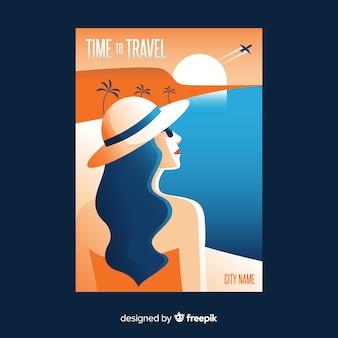 Плоский винтажный туристический плакат с пляжем