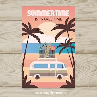 Плоский винтажный туристический плакат с фургоном