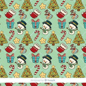 手描きのクリスマスの要素パターン