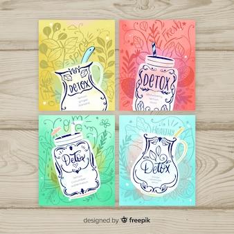 水彩デトックスフルーツジュースカード