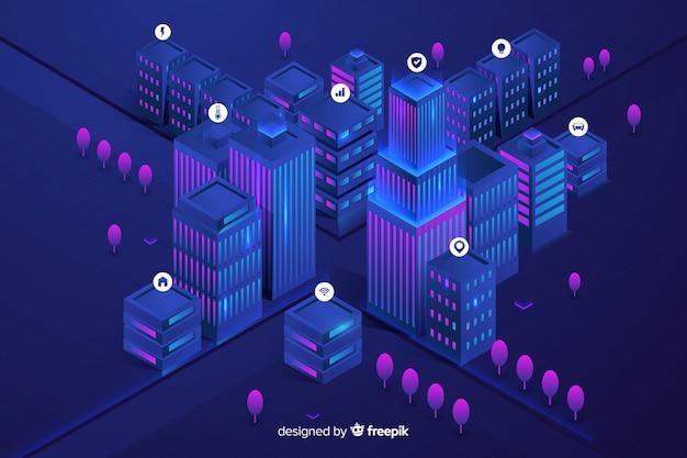 等尺性の未来的な街の背景