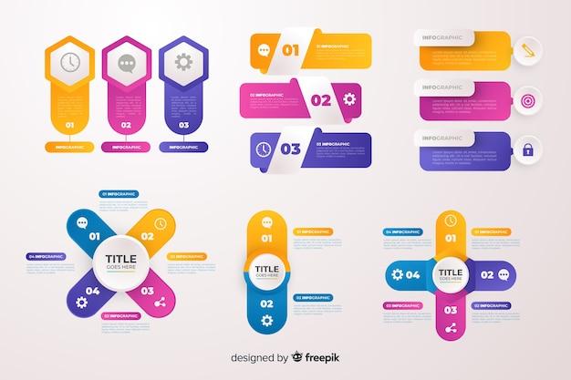 Набор элементов градиента бизнес инфографики