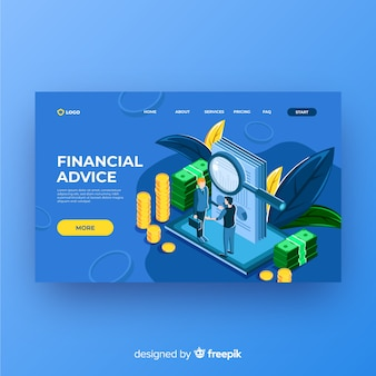 財務アドバイスのランディングページ