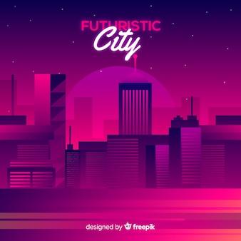 Плоский футуристический город фон