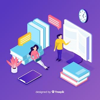 カラフルな等尺性のオンライン教育の概念