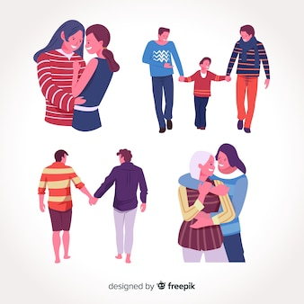 プライドデーのカップルと家族