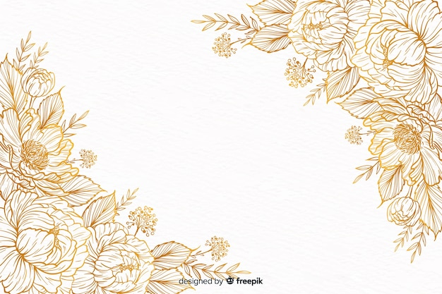 手描きの装飾的な花のフレーム