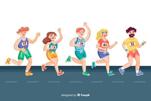 マラソンレースの人々
