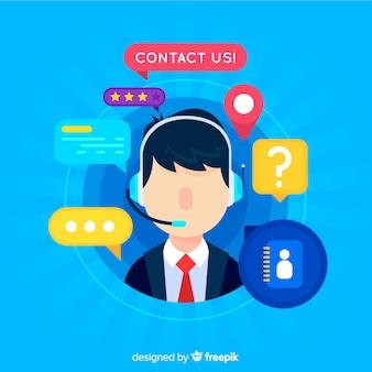 コールセンター電話フラットデザイン