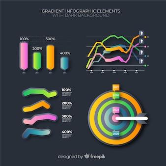 Пакет элементов градиента бизнес инфографики