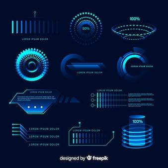 未来的なホログラフィックインフォグラフィック要素のコレクション