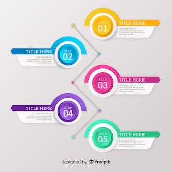 Градиент плоский красочный шаг инфографики