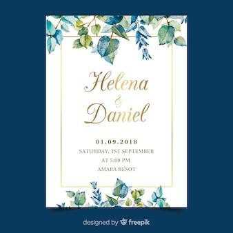 水彩の結婚式の招待状カードのテンプレート
