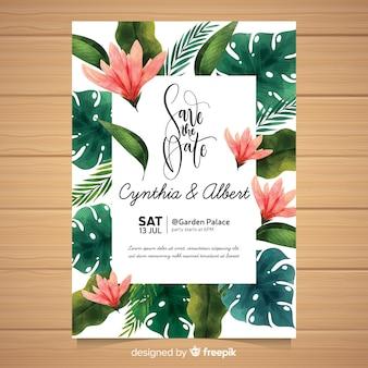 Акварель тропическое свадебное приглашение
