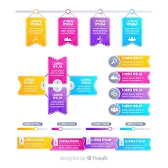 グラデーションビジネスインフォグラフィック要素セット
