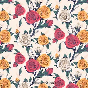 バラとリアルな花の装飾的なパターン