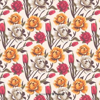 Реалистичный цветочный орнамент с розами