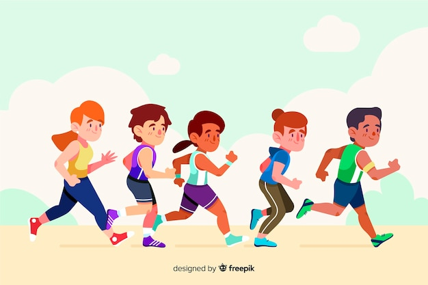Люди на марафонской гонке