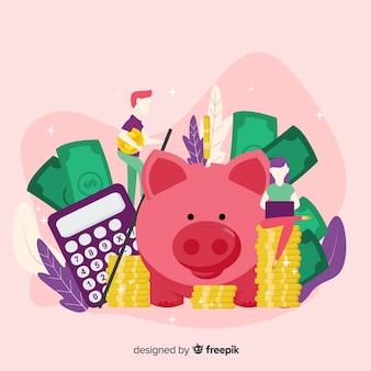 カラフルなお金の節約のコンセプト