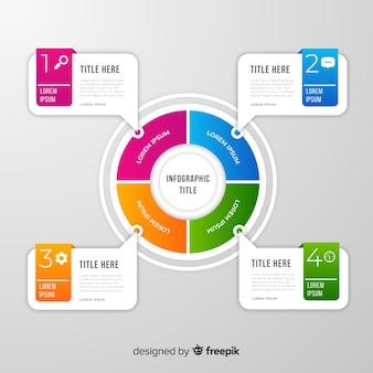 グラデーションフラットカラフルなステップのインフォグラフィック