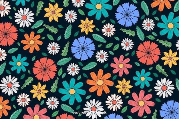 手描きの色とりどりの花の背景