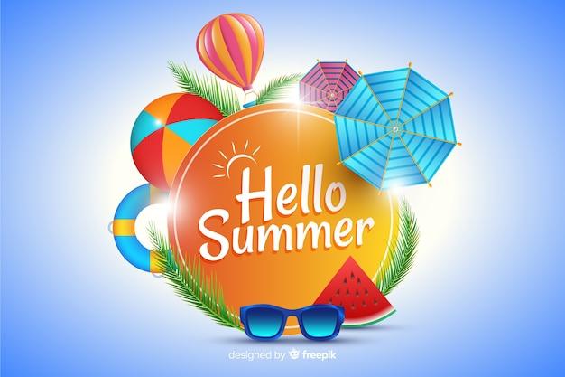 看板の背景を囲む現実的な夏の要素
