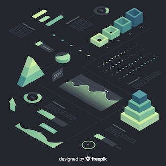 等尺性グラデーションインフォグラフィック要素のコレクション